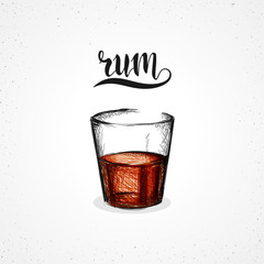 Color rum in glass with calligraphy. Sketch by hand