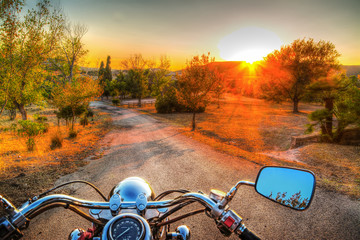 classic motorcycle on the edge of the road