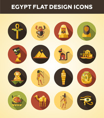 Set of flat design Egypt travel icons, infographics elements with landmarks and famous Egyptian symbols