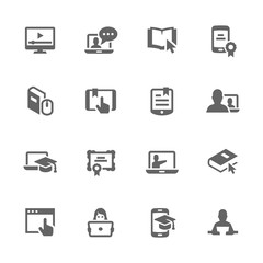 Simple Online Education Icons