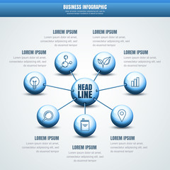 Vector business infographic. Abstract molecular structure backgr