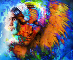 beautiful collage painting of an Indian man and young woman with feather headdress, and abstract color background