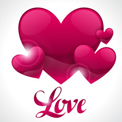 Valentine day background with word love and hearts. Design greeting cards, banners. Concept for wedding invitation