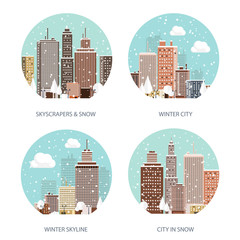 Vector illustration. Winter urban landscape. City with snow. Christmas and new year.  Cityscape. Buildings