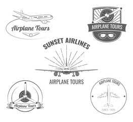 Planes label set. Vector Illustration.