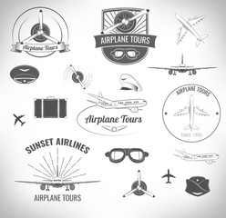 Airplane Lable Set. Vector illustration