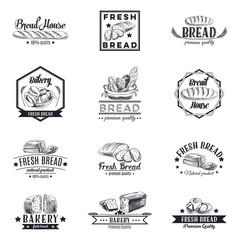 Vector set of bakery and bread logos, labels, badges and design elements