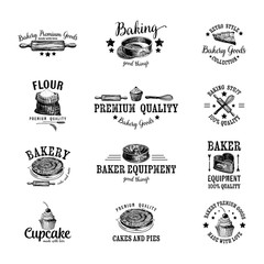 Vector set of bakery logos, labels, badges and design elements.