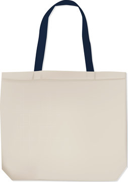 Realistic white tote bag with black handles for your design. Vector isolated