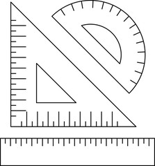 Ruler, triangle, protractor. Ruler flat icon, icon line.