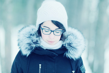 European girl portrait winter outside