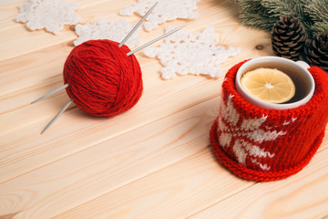 Knitted Christmas decorations and tea