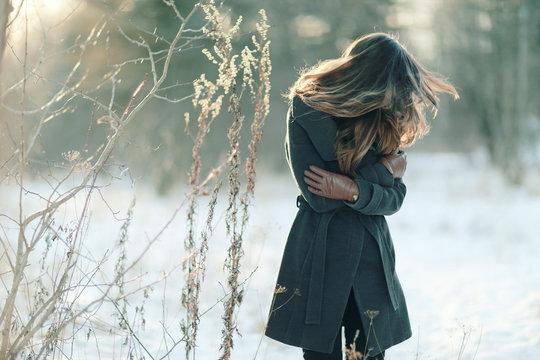 Winter portrait of a woman of stress