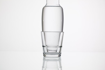 Glasses of water on the glass table