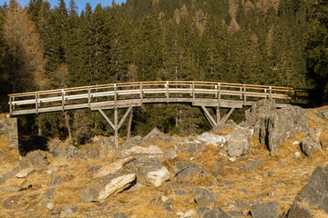 Wall Mural - Holzbrücke im Gebirge