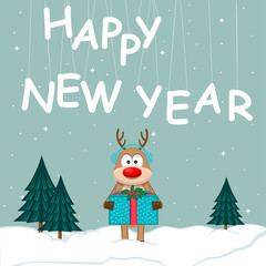 New Year poster with reindeer and Christmas tree