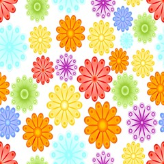 Cheerful spring background with abstract flower motif. Green, yellow, blue, red and orange blossom on white background. Seamless vector tile.