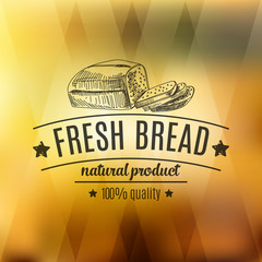 Vector hand drawn illustration with bread label.