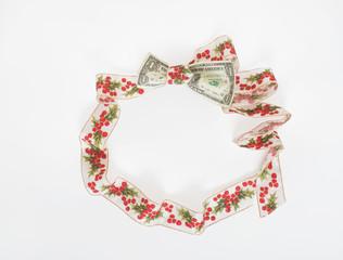 Holly Ribbon Wreath with Dollar Bill