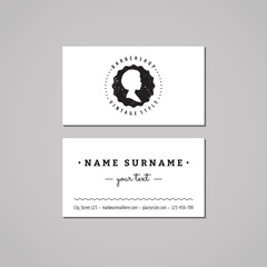 Barbershop business card design concept. Barbershop logo-badge with african american woman profile. Vintage, hipster and retro style. Black and white. Hair salon business card.