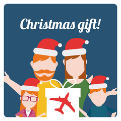 christmas gift illustration over  blue color background