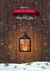 Christmas greeting card with old black shining lantern on dark wooden background, illustration