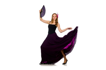 Woman dancing with fan isolated on white
