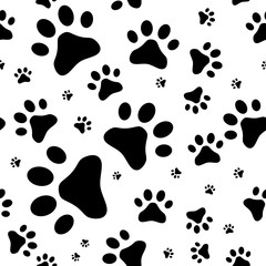 Seamless pattern with cats footprints