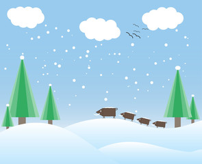 winter card with trees and wild boars