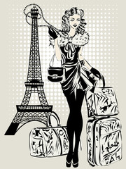 Wall Mural - Black and white illustration of Fashion woman near Eiffel Tower with baggage