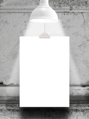 One hanged paper sheet frame with white retro lamp on ancient decorated marble wall background