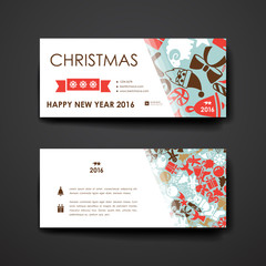 Set of modern design banner template in Christmas style