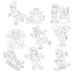 A collection of vector illustration of happy kids playing in snow and having winter fun. Outlines only for a coloring book, There is also a colored version of this illustration.