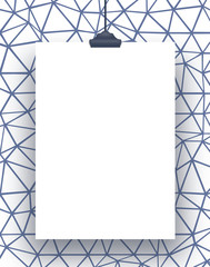 One hanged rectangular frame with clip on blue geometric mesh background