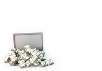 Lot of Money on Computer Laptop background