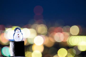 ガラスのペンギンと玉ボケ