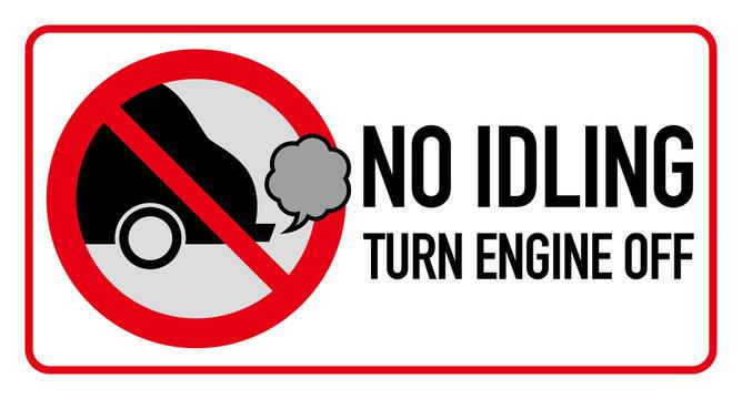 Idle free zone turn engine off sign, no idling, idle reduction, vector illustration