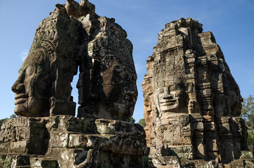 Giant stone faces of Bayon temple in Angkor Thom