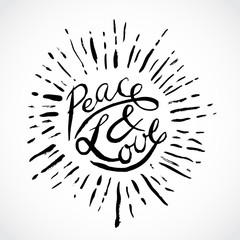 Vintage hand drawn lettering peace and love. Retro vector illustration. Design, retro card, print, t-shirt, postcard