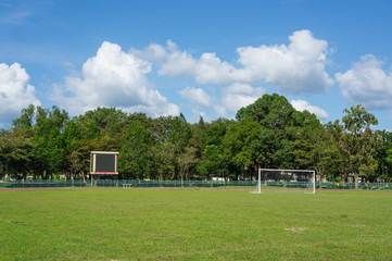football field with blue sky