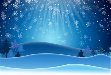 Blue Christmas Background With Snowflakes. Raster Version