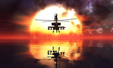 military helicopter and reflections