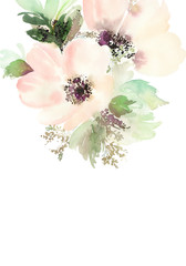 Greeting card with flowers. Pastel colors. Handmade. Watercolor