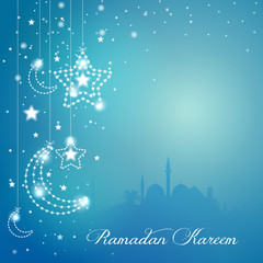 Greeting background with mosque star and crescent for Ramadan Kareem - Translation of text : Ramadan Kareem - May Generosity Bless you during the holy month