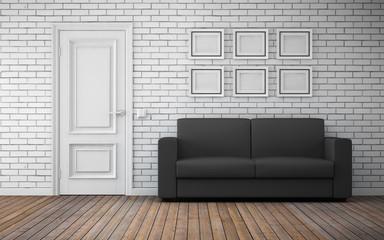 Modern bright room interior. 3d rendering
