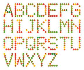 アルファベット/トロピカル ポイントで作成したアルファベット(ABC)