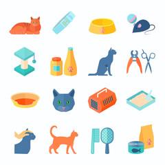 Healthy indoor cat flat icons set
