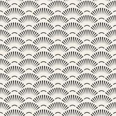 Vector Seamless Black and White SunBurst Lines Fan Shape Pattern