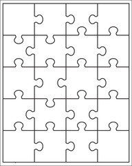 Separate pieces of white puzzle, vector illustration