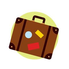 Icono plano maleta color con fondo redondo